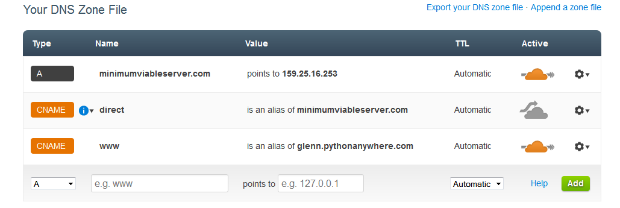 screenshot of cloudflare dns settings page