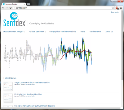 Screenshot of the Sentdex front page