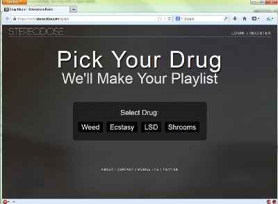 Screenshot of the stereodose front page